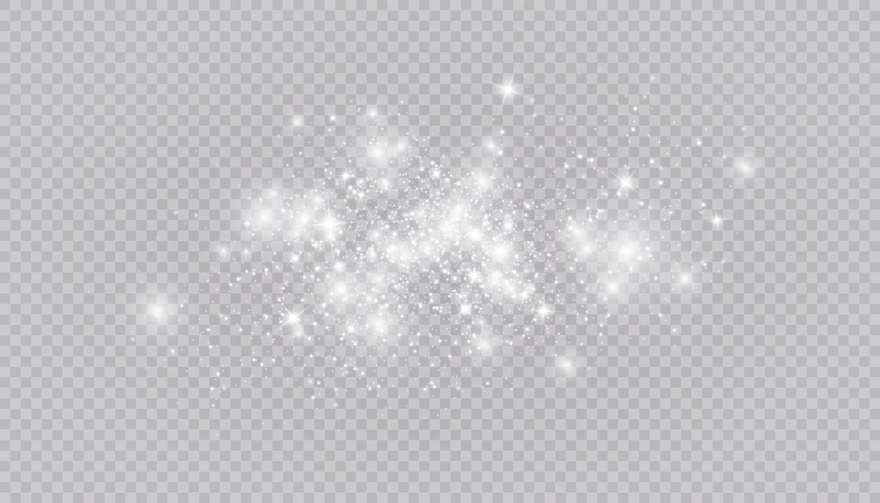 gloeiend lichteffect met veel geïsoleerde glitterdeeltjes. vector sterrenwolk met stof. magische kerstversiering