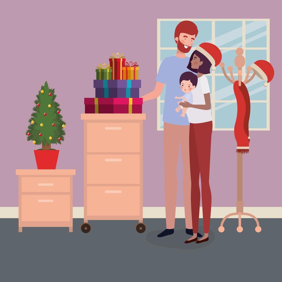 interraciale familie vieren kerst thuis vector