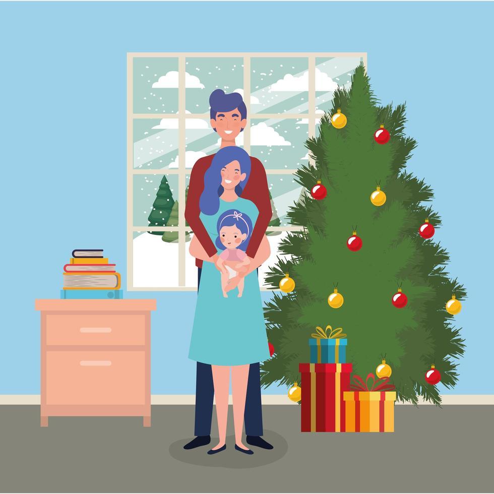 familie vieren kerst thuis vector