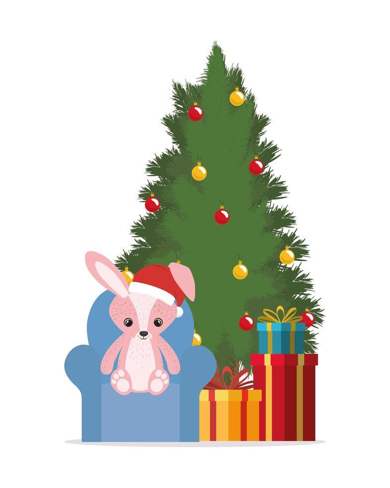 vrolijk kerstfeest met pijnboom en konijn vector