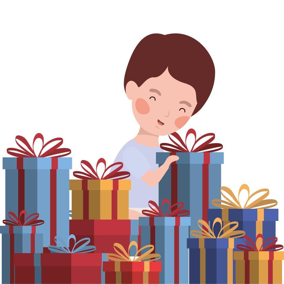 kleine jongen met geschenken kerstviering vector