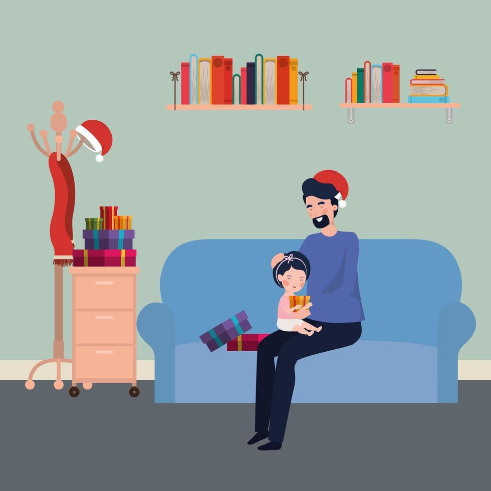vader en dochter in de kerstviering van de woonkamer vector