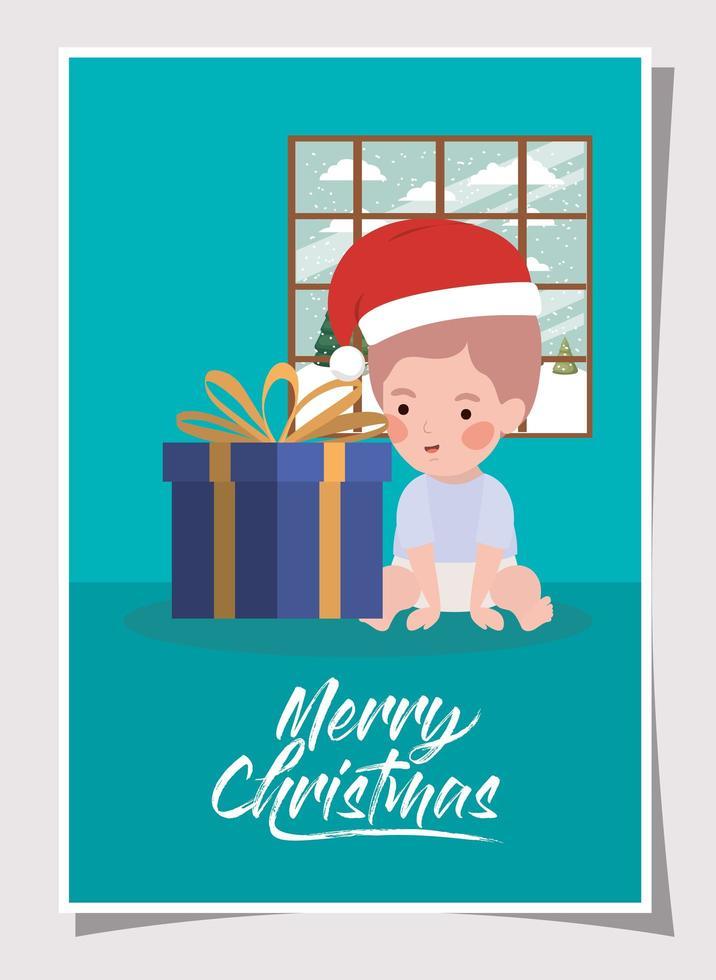 kleine jongen met cadeau kerstviering vector