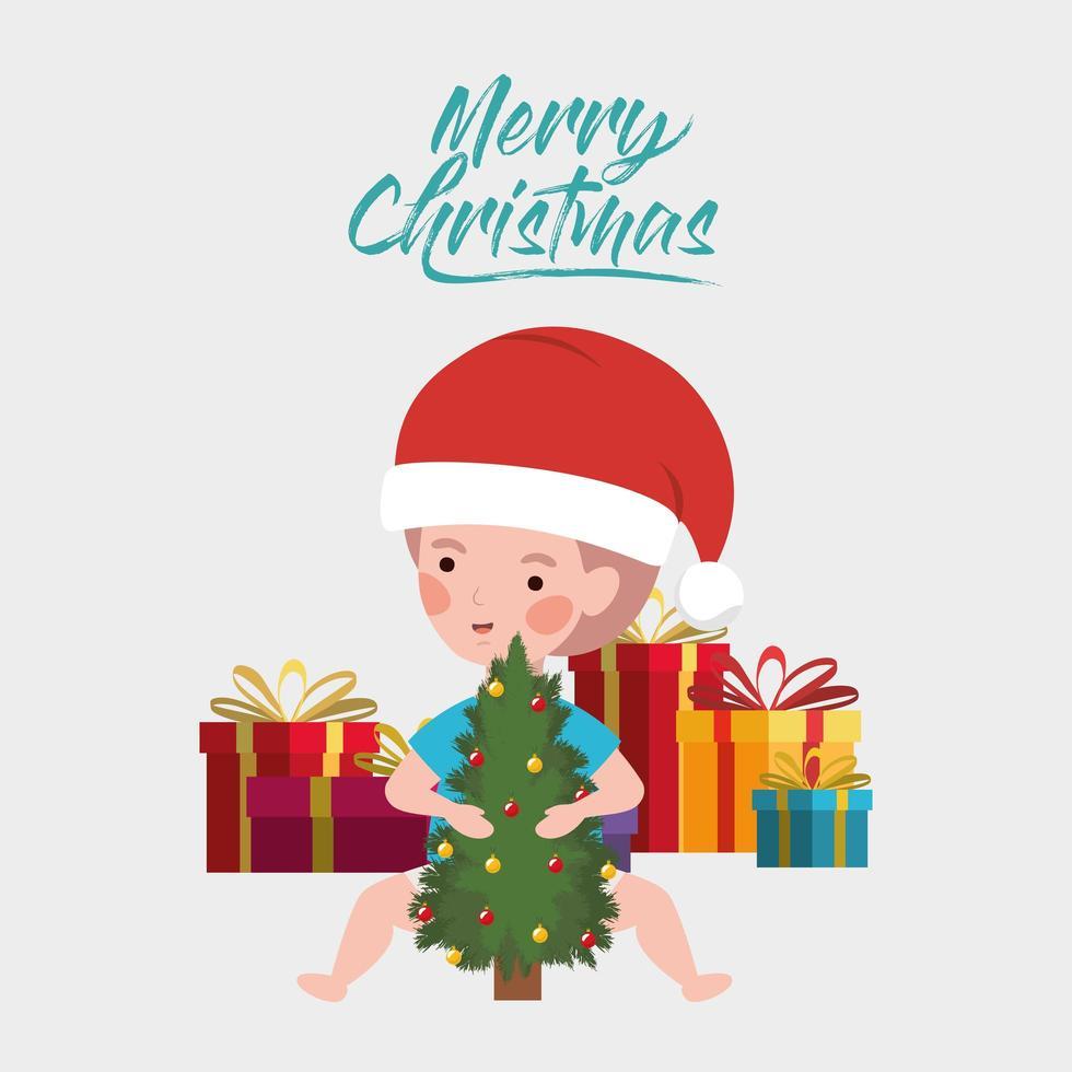 kleine jongen met pijnboom en geschenken kerstviering vector