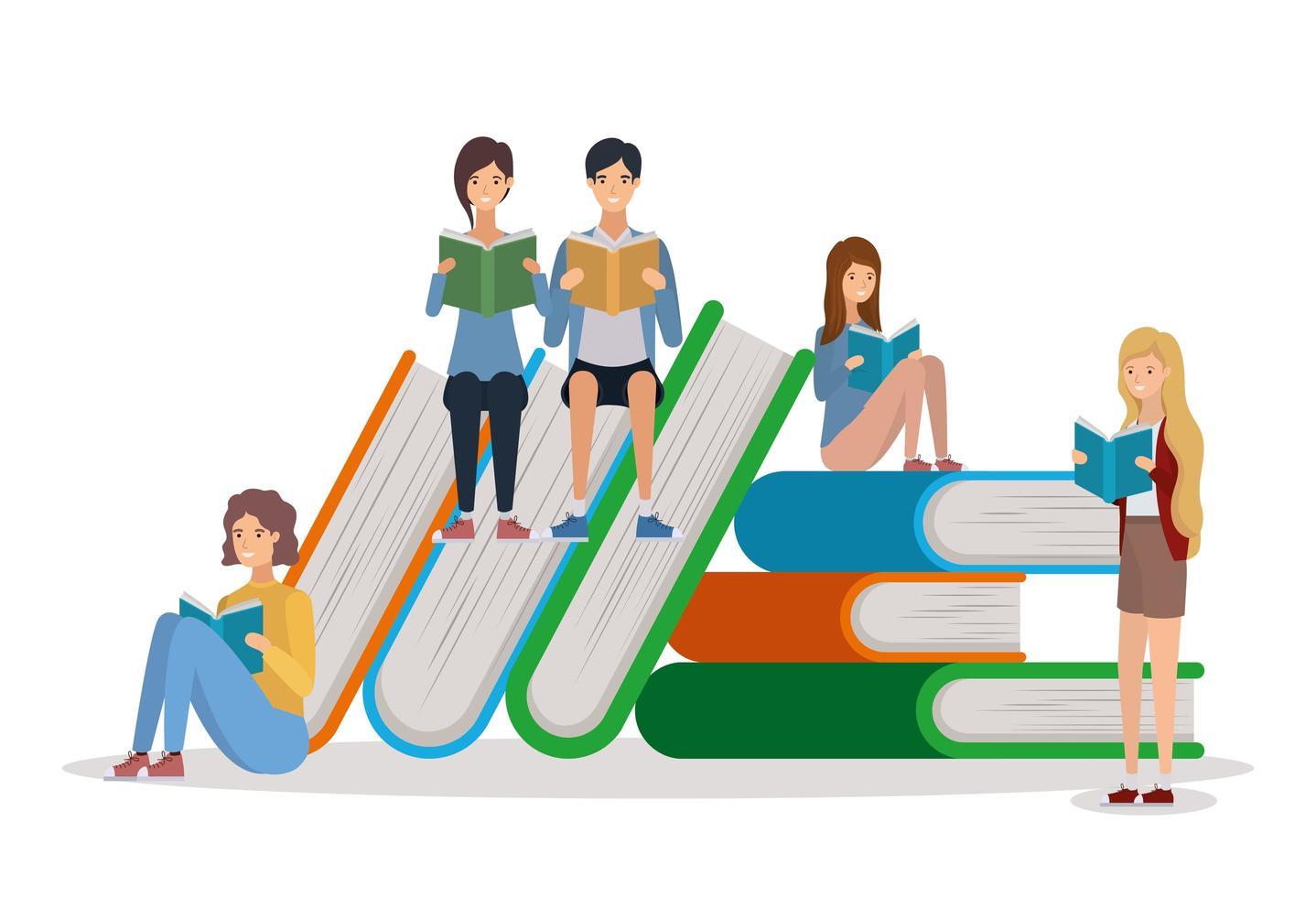 groep studenten die boeken lezen vector