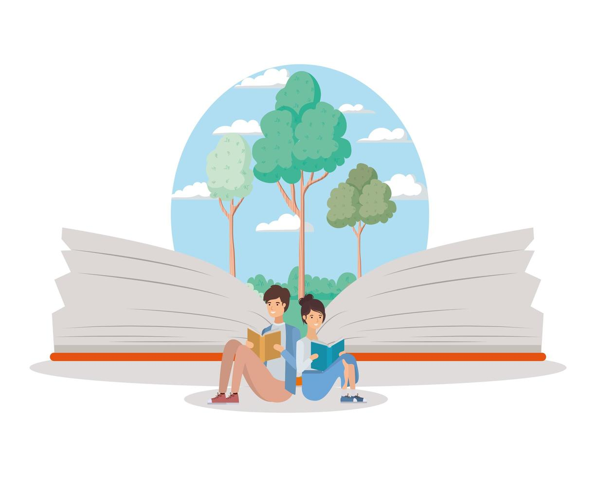 paar studenten lezen van boeken vector