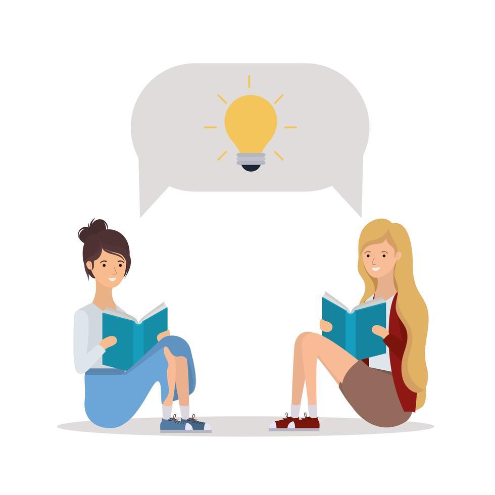 jonge vrouwen die boeken lezen vector