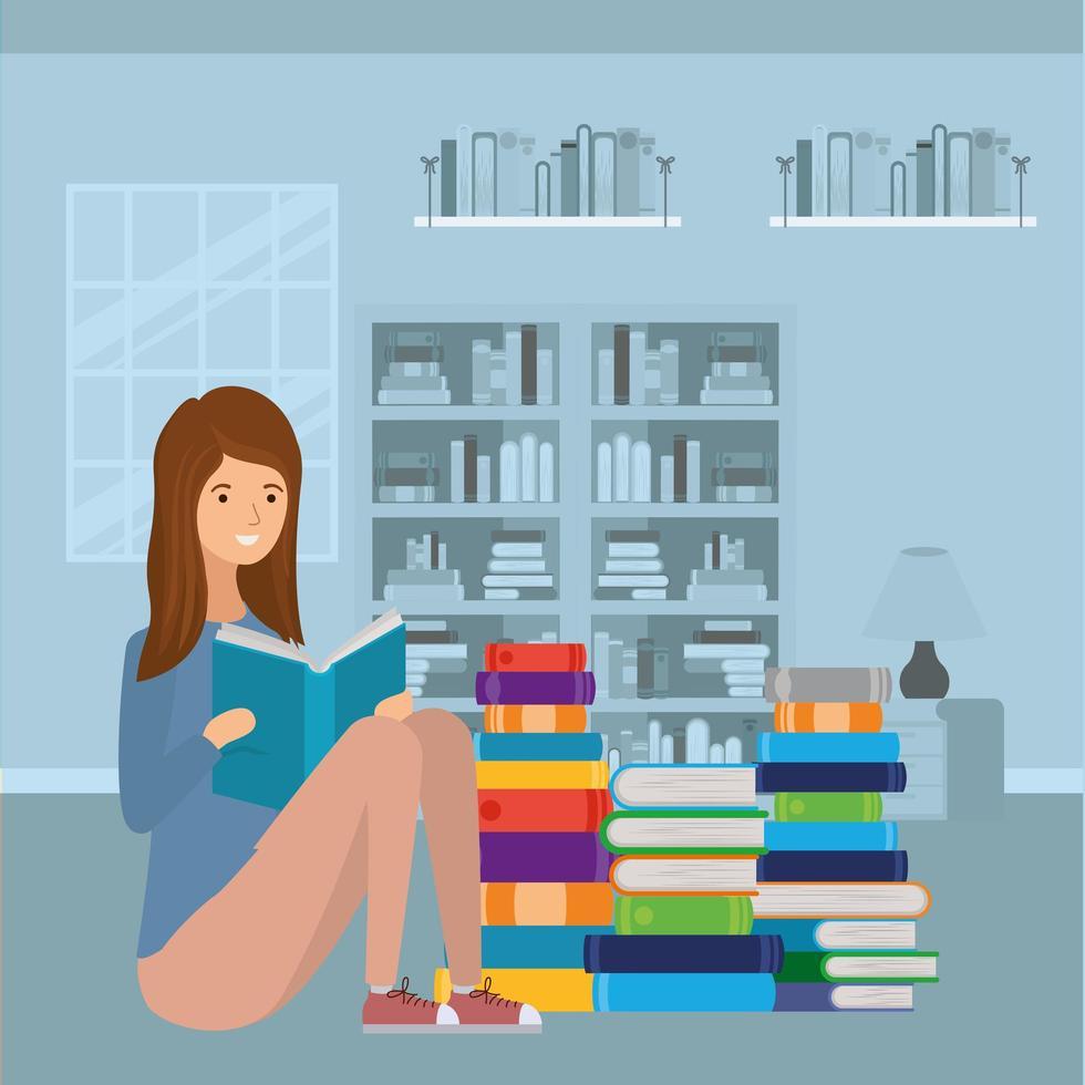 jonge vrouw leesboek vector