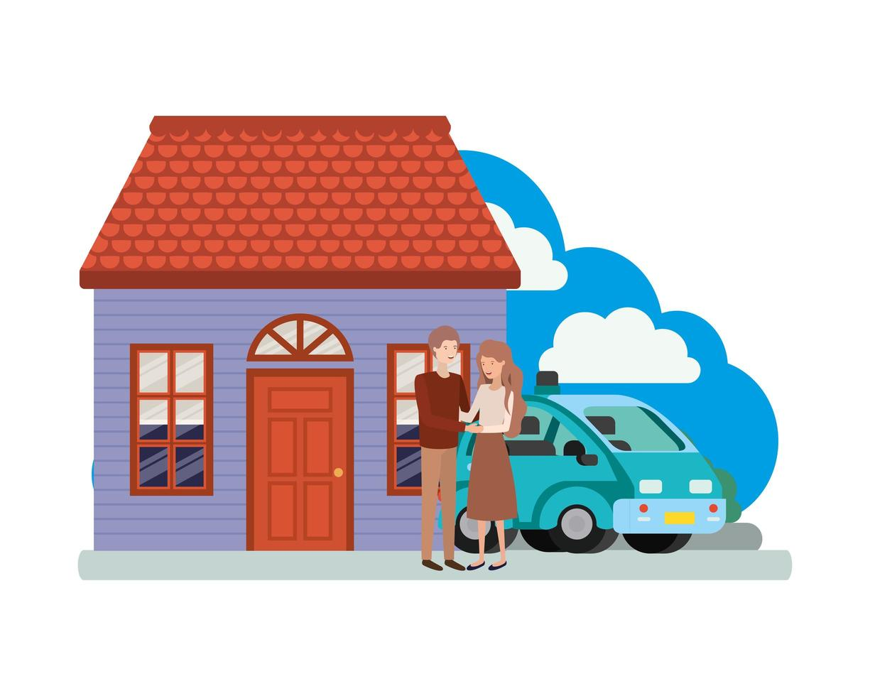 jong stel met slimme auto en huisscène vector
