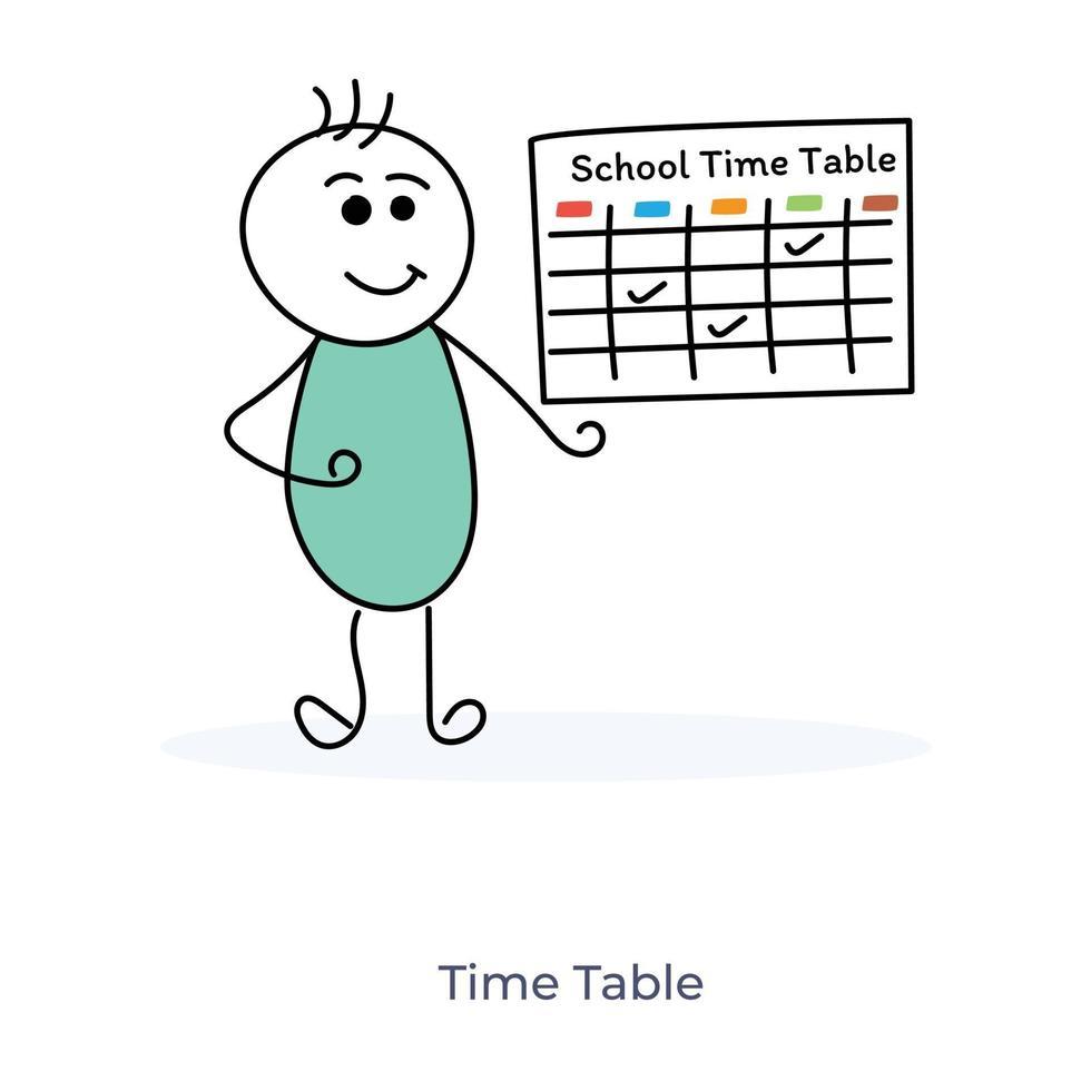 stripfiguur tijdschema vector