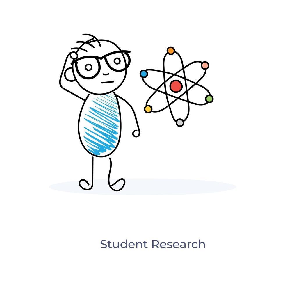 cartoon student onderzoek vector