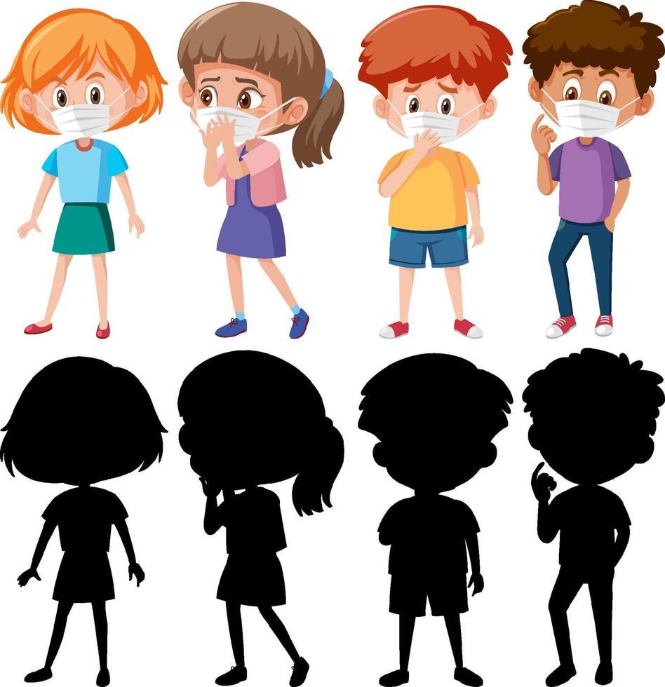 set van verschillende kinderen dragen masker stripfiguur met silhouet vector