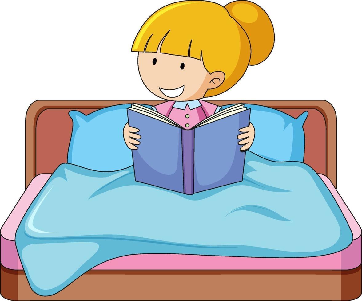 een meisje dat een boek leest en op een bed zit vector