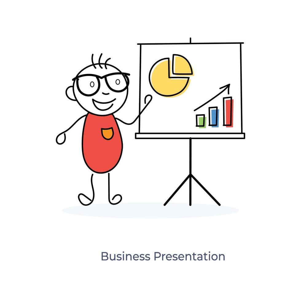 cartoon zakenman presentatie vector