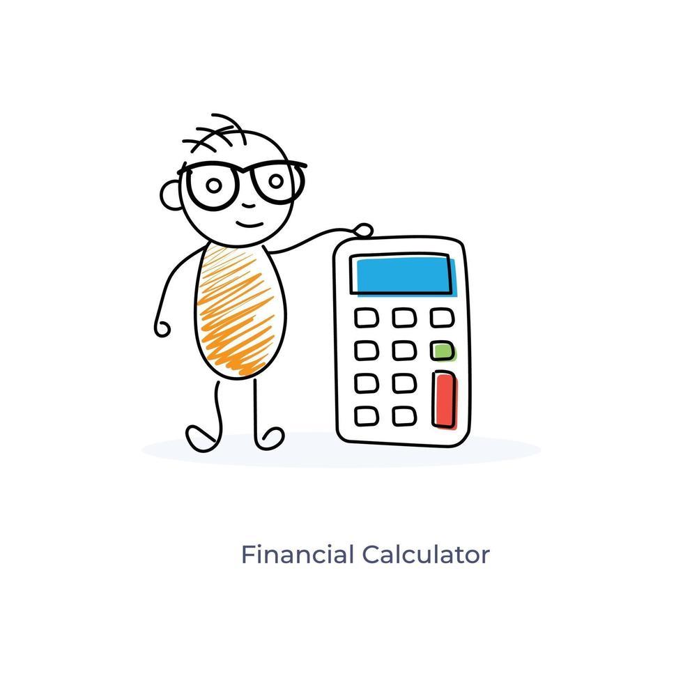 stripfiguur met financiële rekenmachine vector