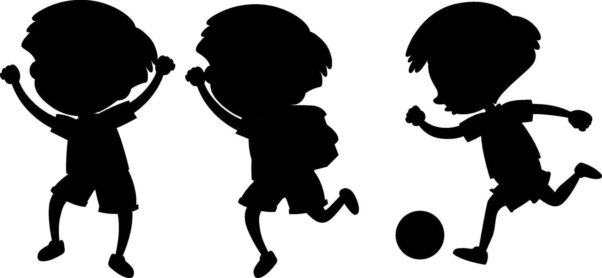stripfiguur van kinderen silhouet op witte achtergrond vector
