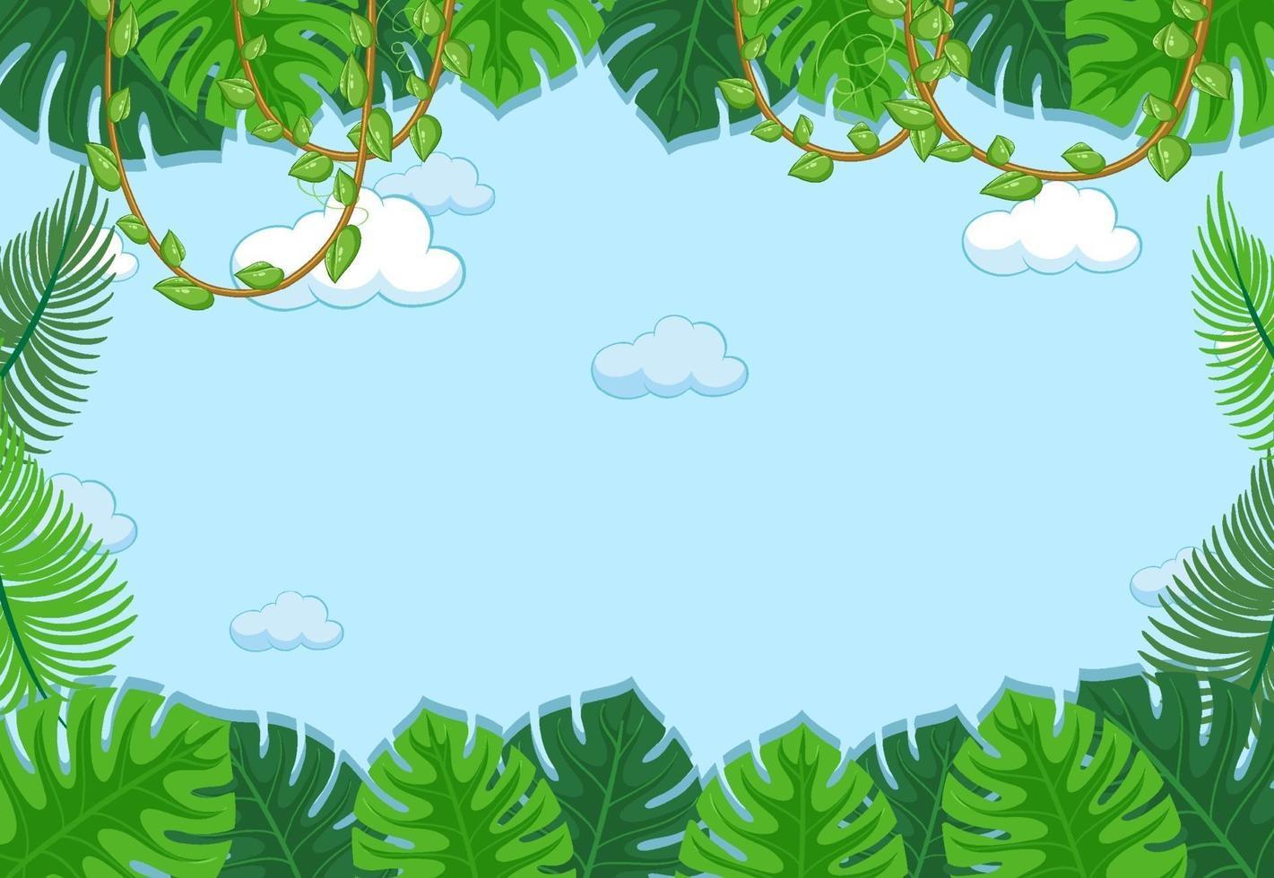 lege hemelachtergrond met bladerenelement vector