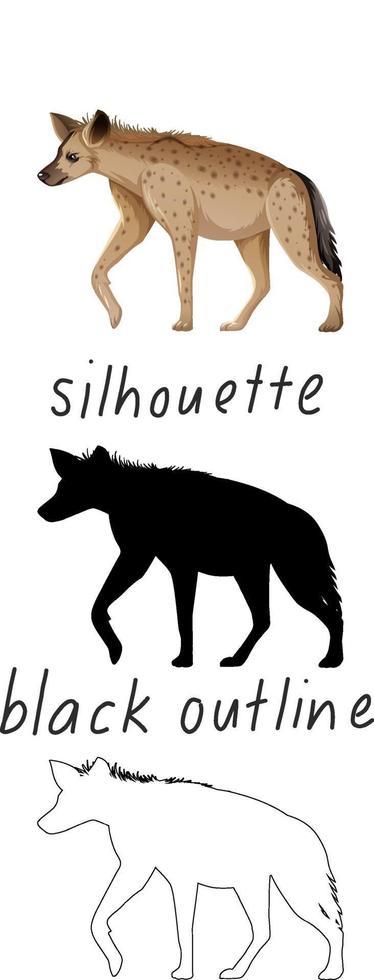 set van hyena in kleur, silhouet en zwarte omtrek op witte achtergrond vector