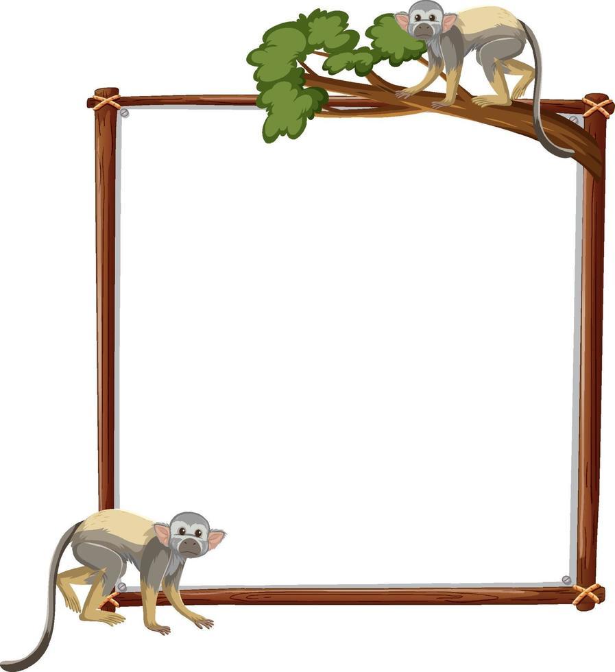 lege banner met eekhoornaap op witte achtergrond vector