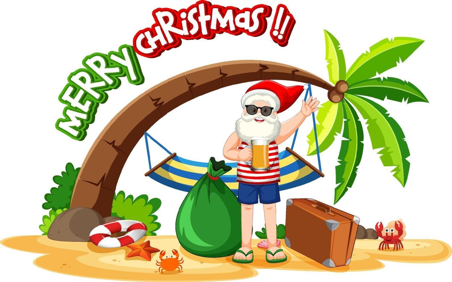 kerstman op het strandeiland voor zomerkerstmis vector