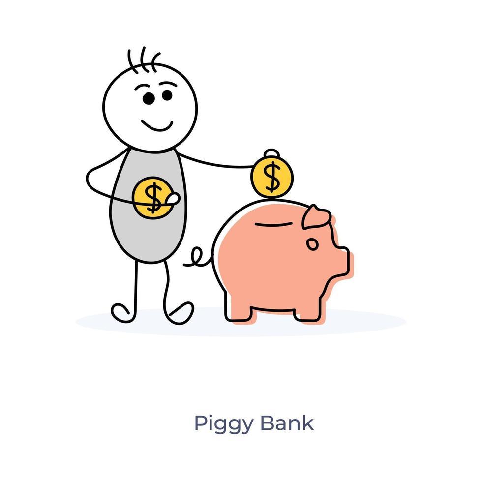 stripfiguur munten invoegen in spaarvarken vector