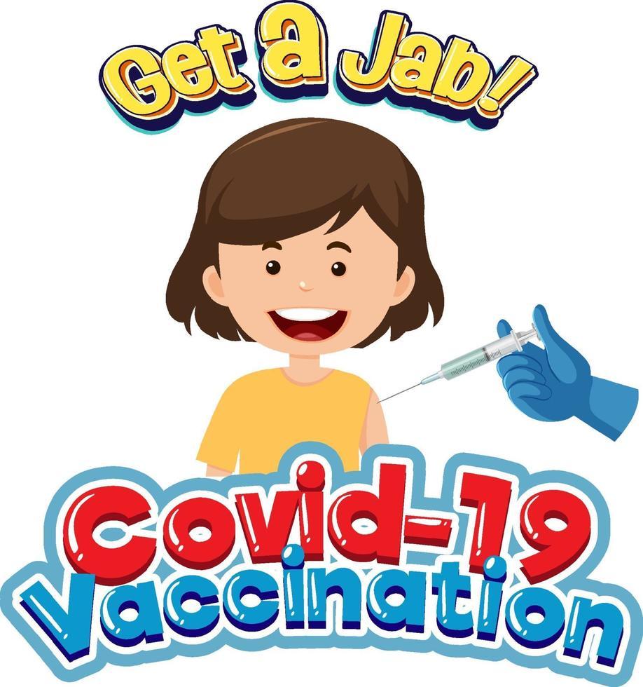 covid-19-vaccinatiedoopvont met een meisje dat een covid-19-vaccin krijgt vector