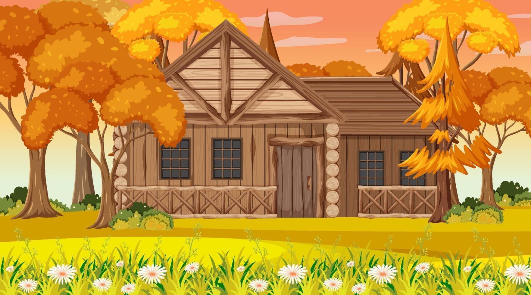 de lege scène van de parknatuur in zonsondergangtijd met een houten huis vector