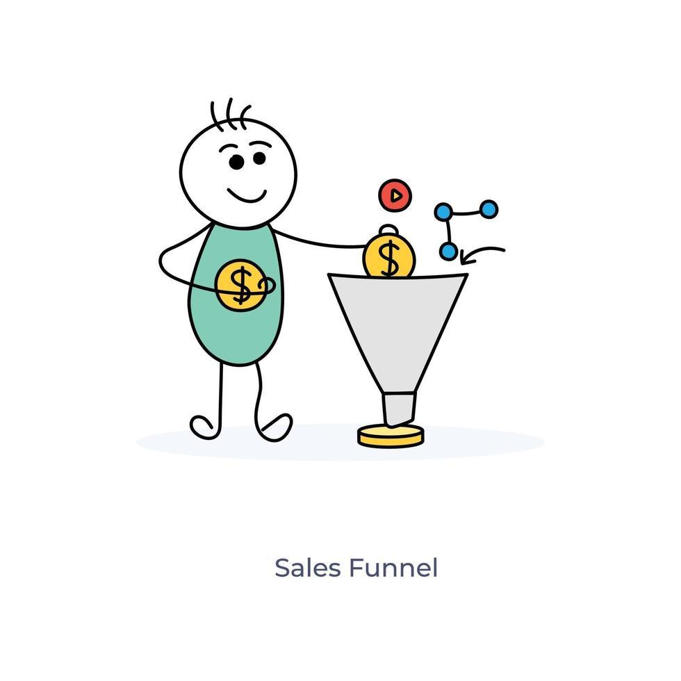 cartoon zakenman met verkooptrechter vector