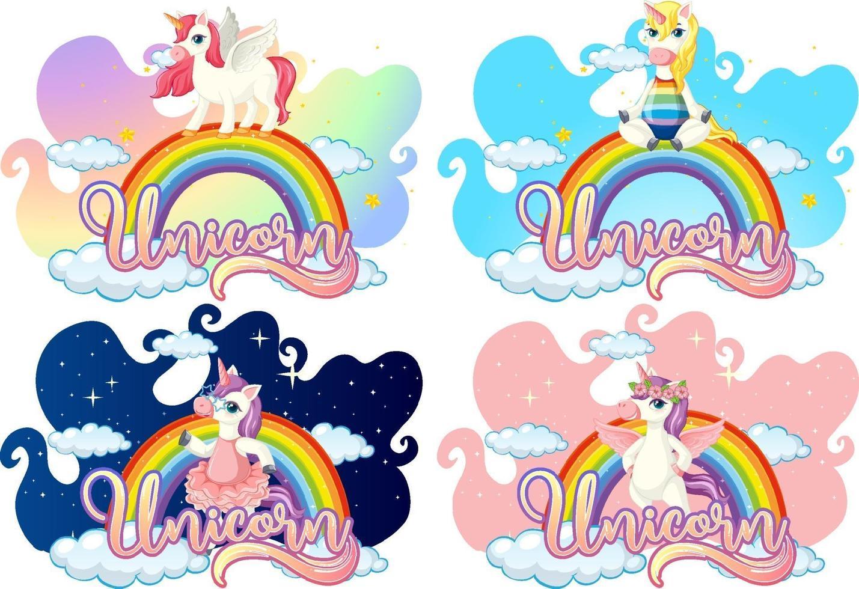 set van verschillende eenhoorn stripfiguur op regenboog met eenhoorn lettertype vector