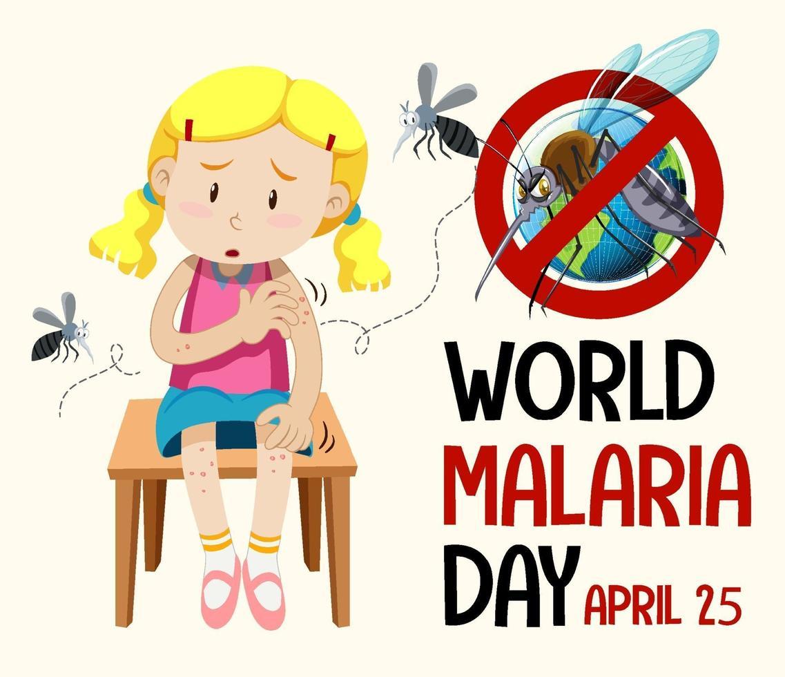 wereld malaria dag logo of banner met mug teken vector