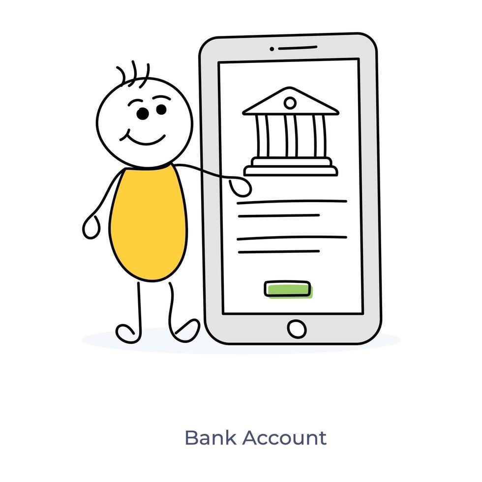 stripfiguur online bankieren vector