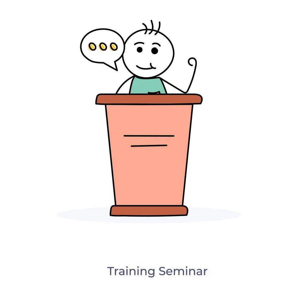 stripfiguur en trainingsseminarie vector