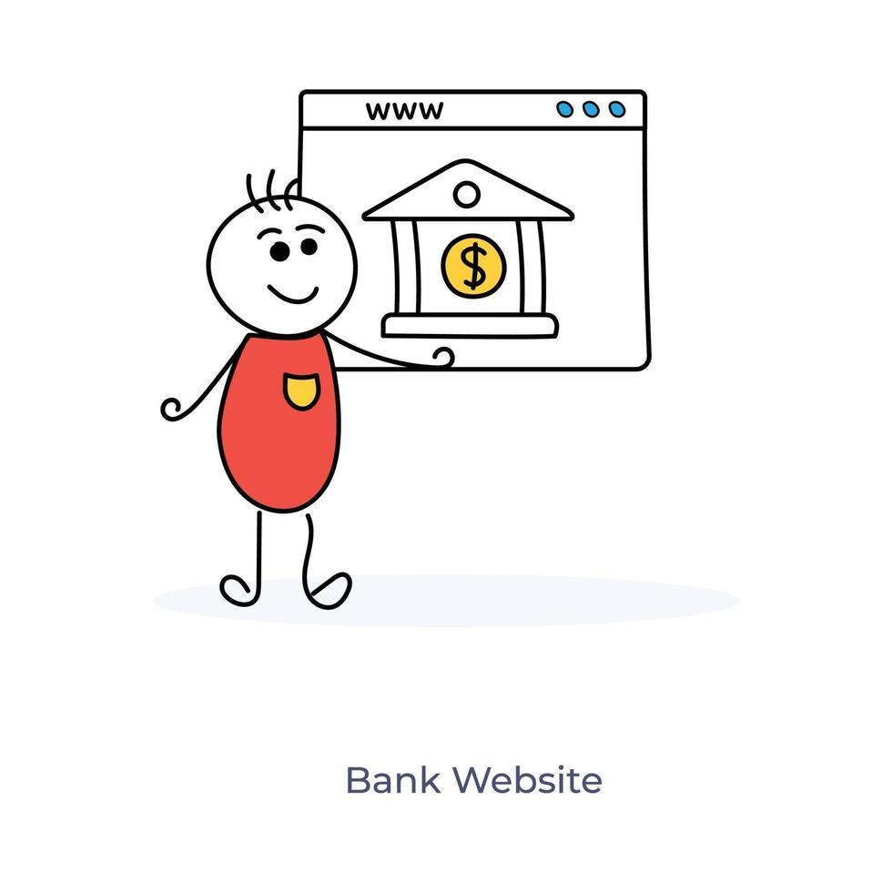 stripfiguur en online bankieren vector