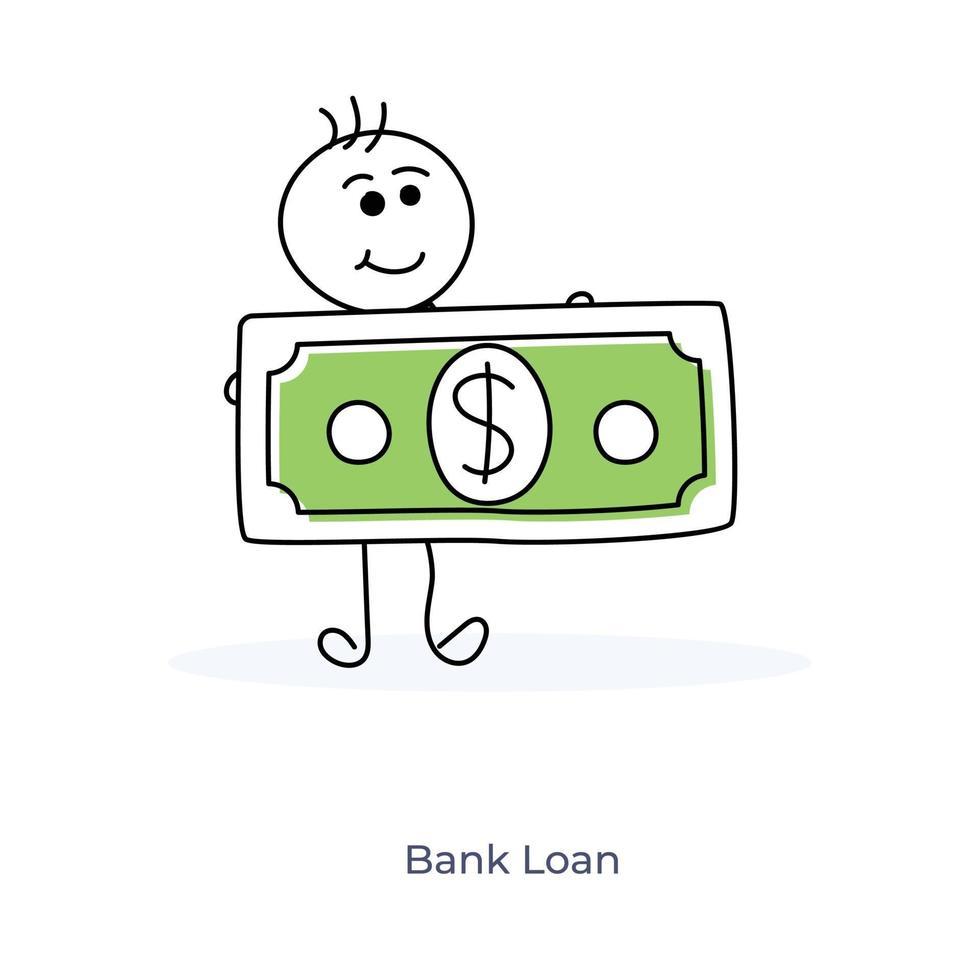 stripfiguur met bankbiljet vector