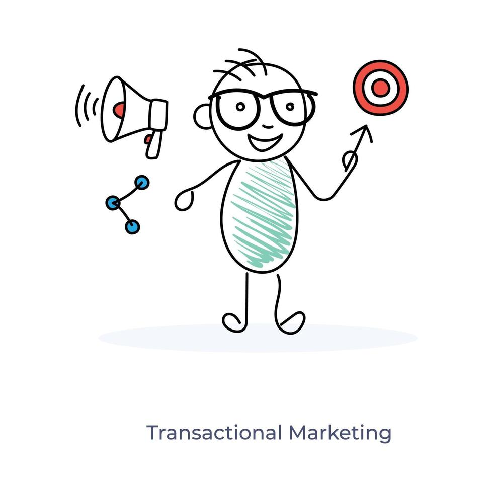 stripfiguur en transactionele marketing vector