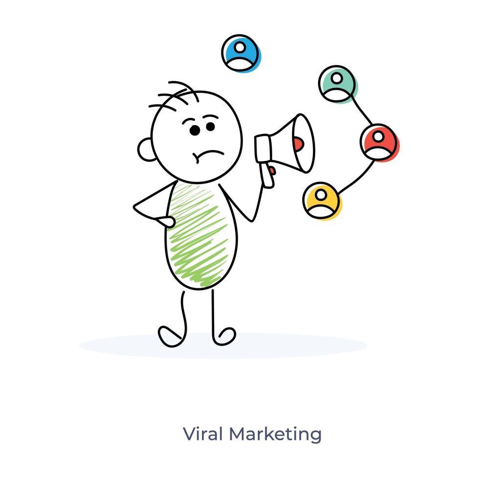 virale marketing door een stripfiguur vector