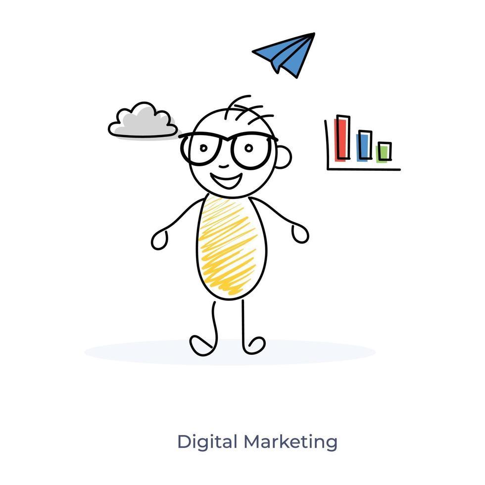 digitale marketing door stripfiguur vector