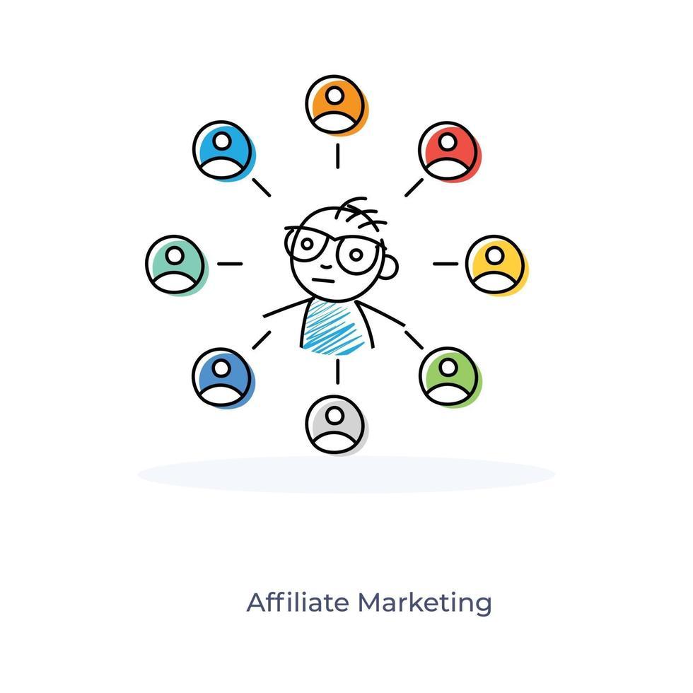 affiliate marketing door een stripfiguur vector