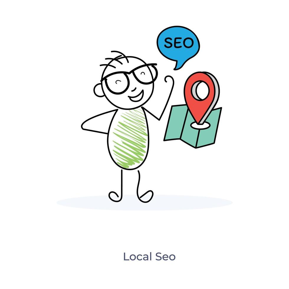 stripfiguur en lokale seo-service vector