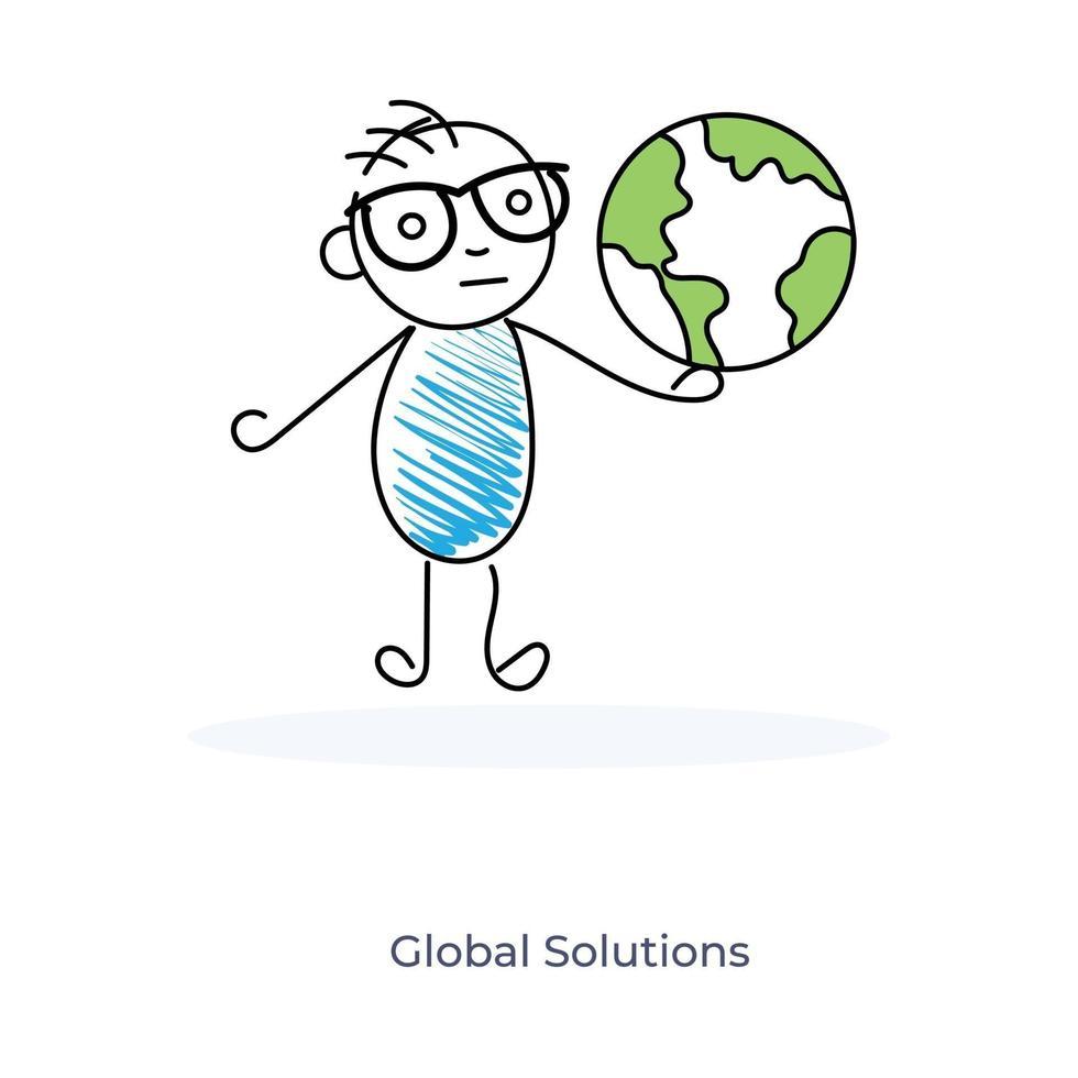 stripfiguur met een wereldbol symboliseert het concept van globale oplossing vector