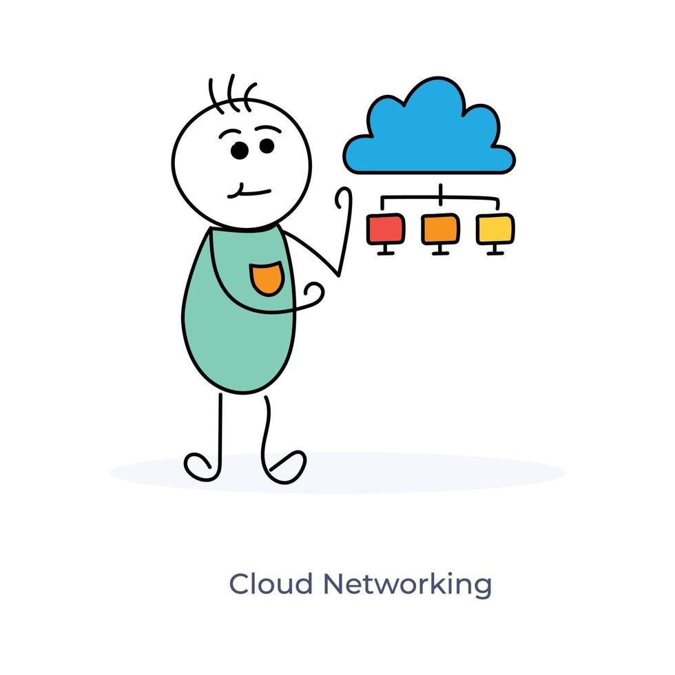 stripfiguur en cloudnetwerken vector
