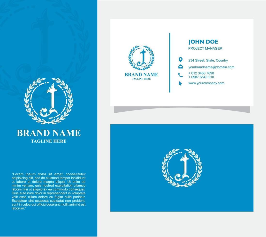 visitekaartje met logo j vector, eps 10 vector