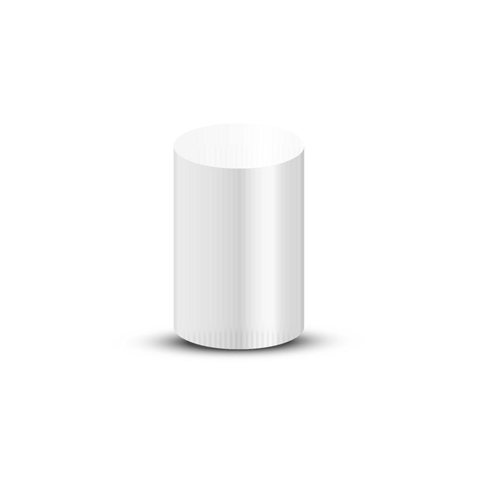 witte cilinder geïsoleerd op een witte achtergrond. vector illustratie