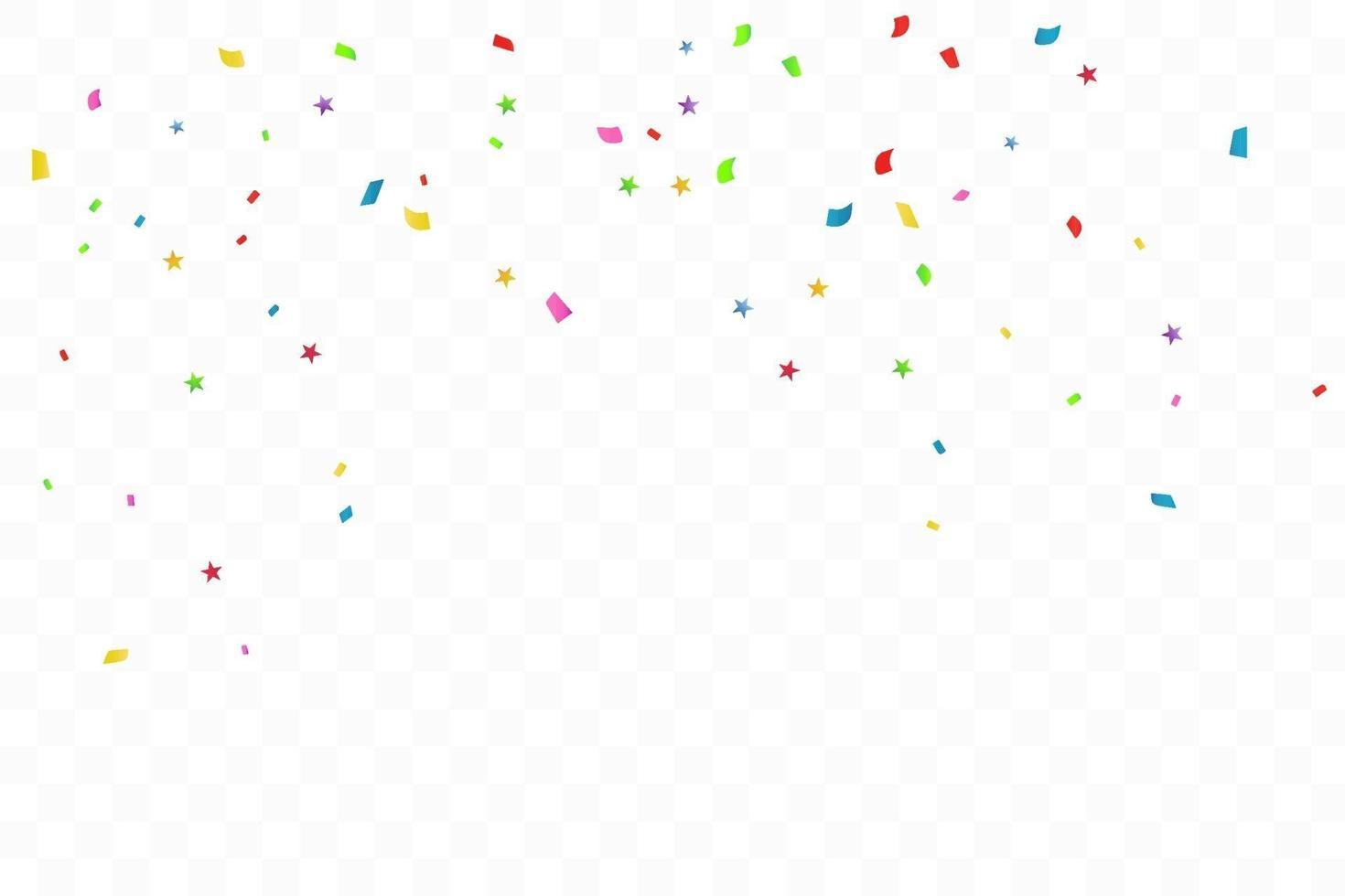 kleurrijke confetti ster op transparante achtergrond. viering partij. vector