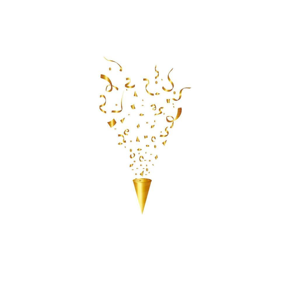 party popper geïsoleerd. gouden confetti. vector illustratie. gelukkige verjaardag concept
