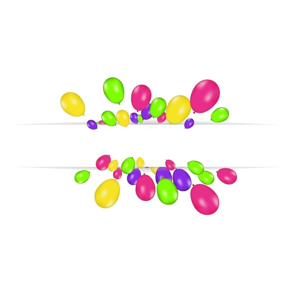lege banner met kleur ballonnen geïsoleerd op een witte achtergrond. vector feestelijke achtergrond. gelukkige verjaardag concept
