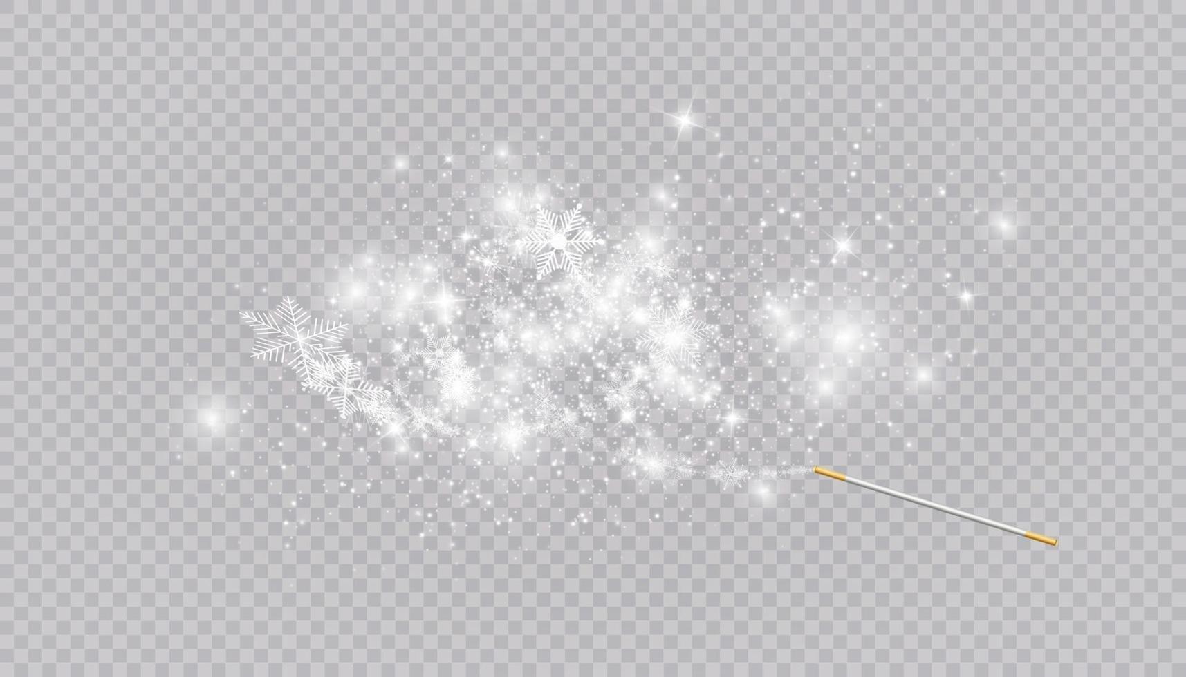 toverstaf met hartvormige sneeuwvlokken in een vlakke stijl in doorlopende tekenlijnen. spoor van wit stof. magische abstracte achtergrond geïsoleerd. wonder en magie. vector