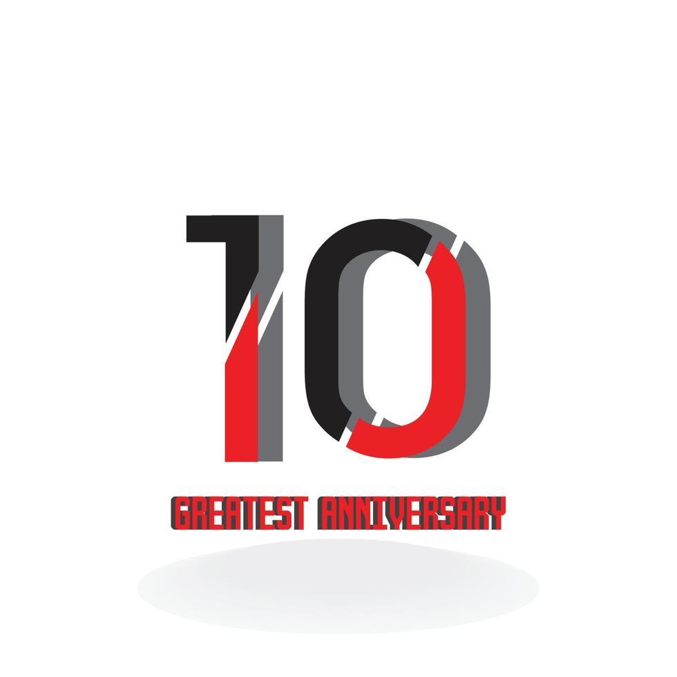 10 jaar verjaardag rode kleur vector sjabloon ontwerp illustratie