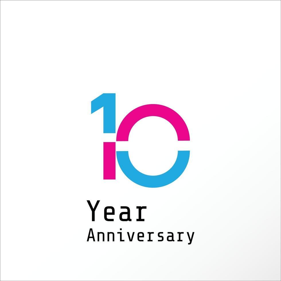 10 jaar verjaardag viering blauwe en roze kleur vector sjabloon ontwerp illustratie