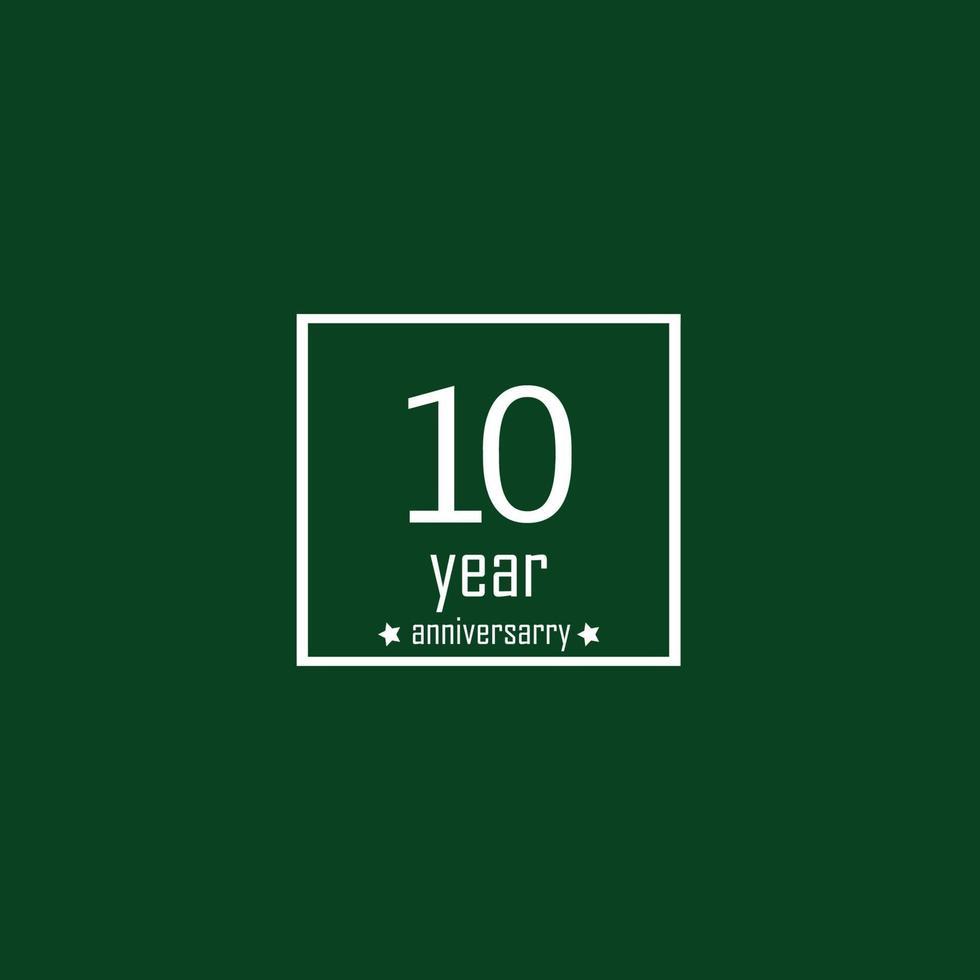 10 jaar verjaardag viering groene kleur vector sjabloon ontwerp illustratie